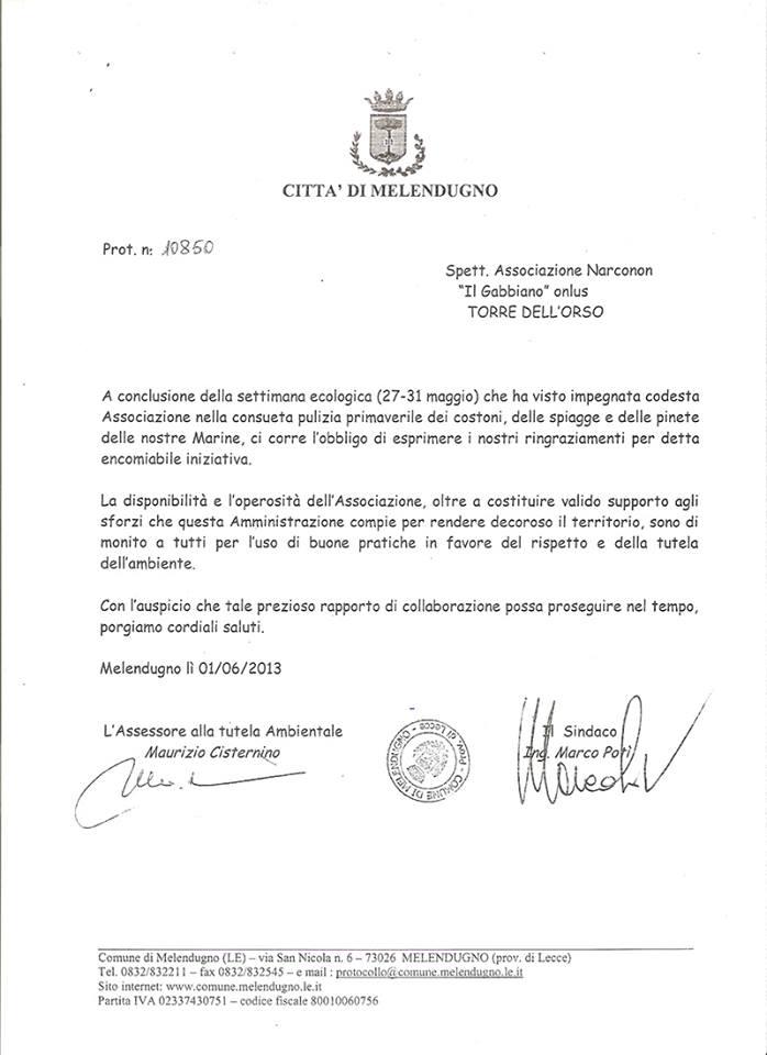 lettera ringraziamento sindaco